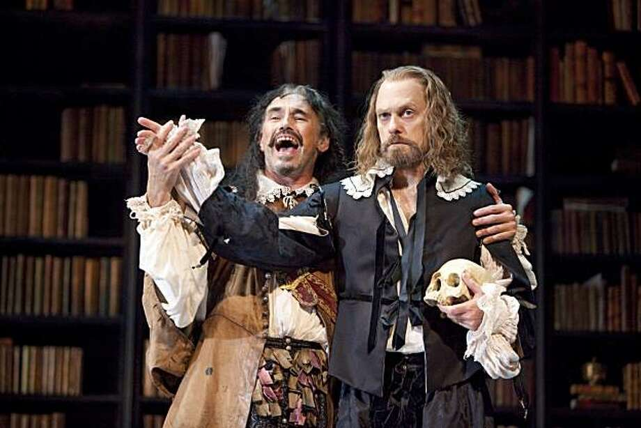 """In this theater publicity image released by The Hartman Group, Mark Rylance, left, and David Hyde Pierce are shown in a scene from """"La Bete,"""" at the Music Box Theatre in New York. Photo: Joan Marcus, AP"""