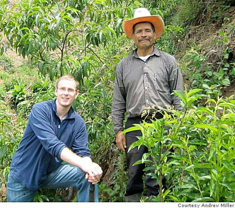 Andrew Miller of Foresta Capital -- a photo from Santa Apolonia, Guatemala where I served as a Peace Corps volunteer (99-01). The photo is with a friend and farmer association member (right) and highlights the now producing peach trees planted during my service.story is 144 project where people pitch products to Venture Capitalists.handout photo from foresta capital Photo: Courtesy Andrew Miller