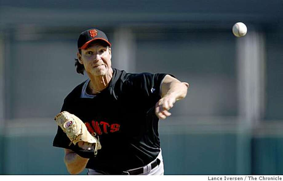 San Francisco Giants Randy Johnson pitched the first inning of a three inning inter quad game Tuesday February 24, 2009 in Scottsdale Arizona Photo: Lance Iversen, The Chronicle