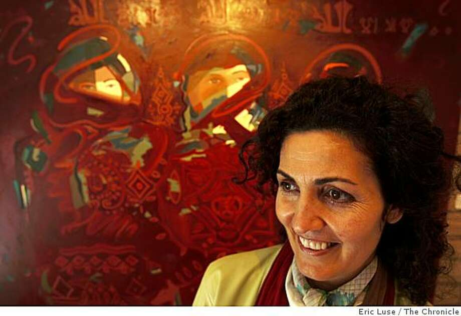 Artist Mehri Fatemeh Dadgar in front of her painting from her  show at Barefoot Art Gallery in Mill Valley photographed on Tuesday, February 17, 2009. Photo: Eric Luse, The Chronicle