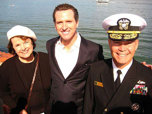 Sen. Dianne Feinstein (left) with Mayor Gavin Newsom and Vice Admiral Richard Hunt, USN. October 2010. By Catherine Bigelow. Photo: Catherine Bigelow, Special To The Chronicle