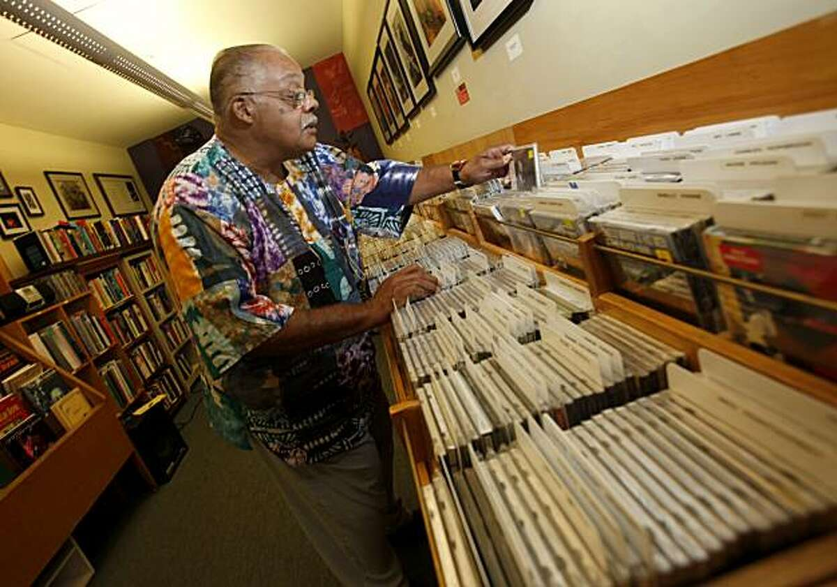 Hermando Bosset looks over some of the rare jazz CDs he has gathered at the Jazz School Tuesday, September 21, 2010. The Jazz School in Berkeley, Calif., was formed nine years ago and offers classes to budding jazz performers of all ages.