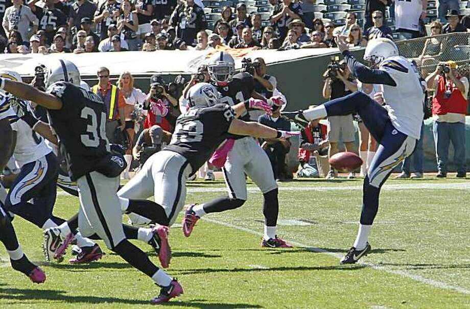 San Diego Chargers punter Mike Scifres, right, has his punt blocked by Oakland Raiders tight end Brandon Myers (83) that Raiders' Hiram Eugene, rear, returned for a touchdown in the first quarter of an NFL football game in Oakland, Calif., Sunday, Oct. 10, 2010. Photo: Tony Avelar, AP