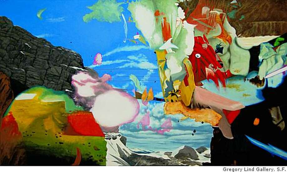 """The Examples of Our Power"" (2008) gouache on paper by Jim Gaylord35"" x 60"" Photo: Unknown, Gregory Lind Gallery, S.F."