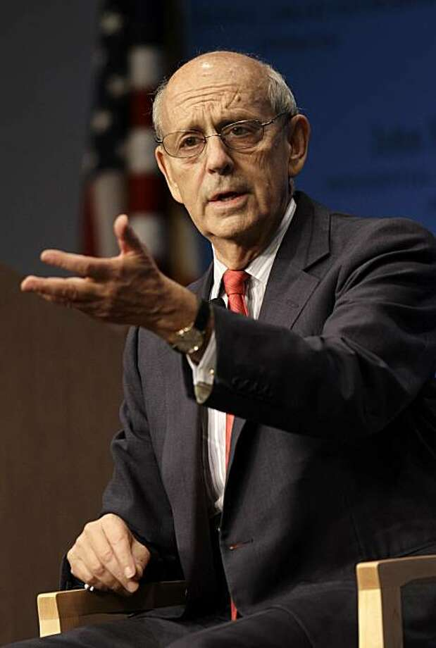 Supreme Court Justice Stephen Breyer addresses an audience at the John F. Kennedy Presidential Library and Museum, in Boston, Wednesday, Sept. 29, 2010.  Breyer spoke during a forum open to the public during which he took questions from a moderator aboutthe Supreme Court and his new book, Making Our Democracy Work: A Judge's View. Breyer also took questions from members of the audience. Photo: Steven Senne, AP