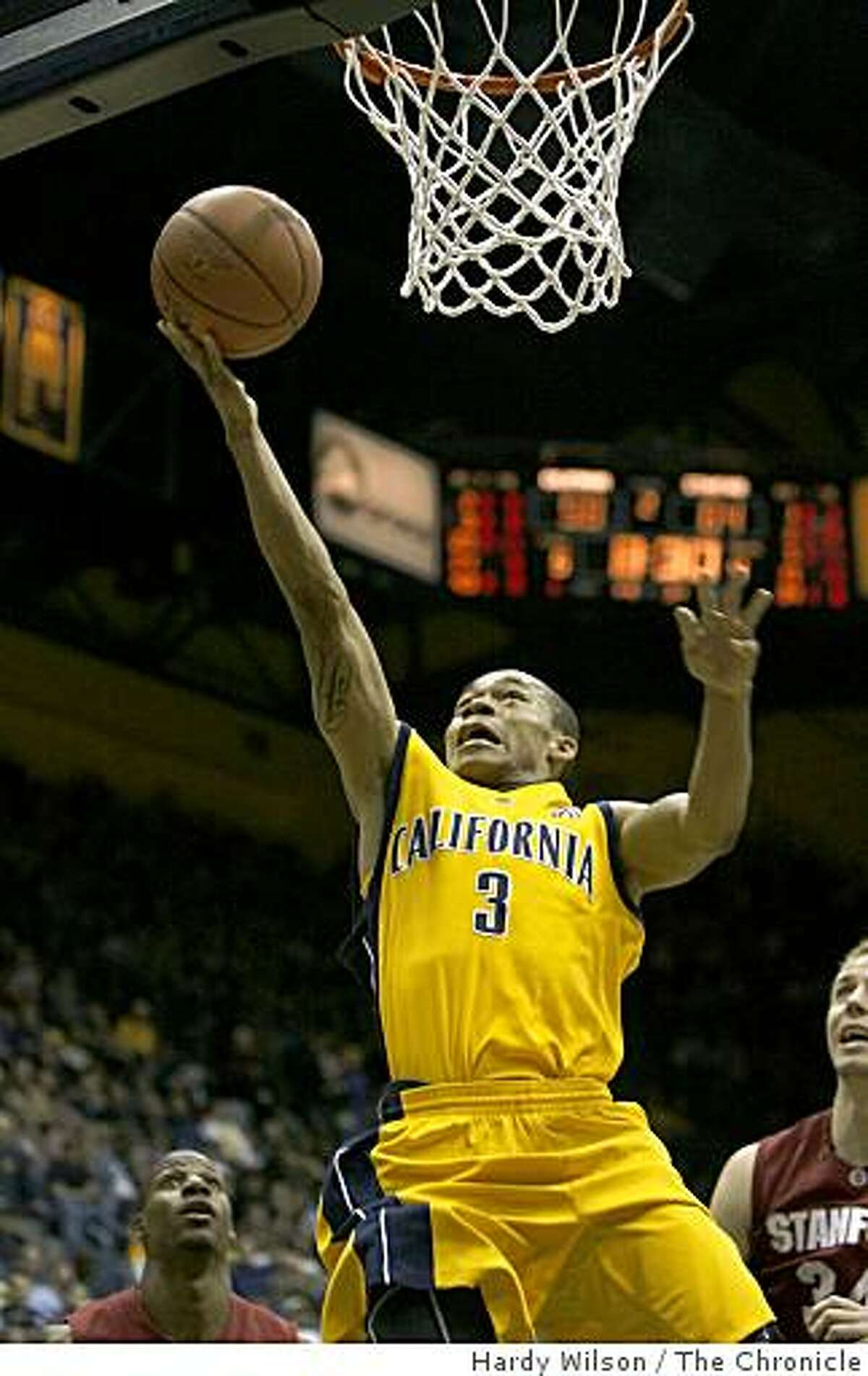 Cal Bears guard Jerome Randle (3) goes up for a layup in the second half against the Stanford Cardinals on Saturday, February 14, 2009, at Haas Pavilion in Berkeley, Calif. Cal won the game 82-75.