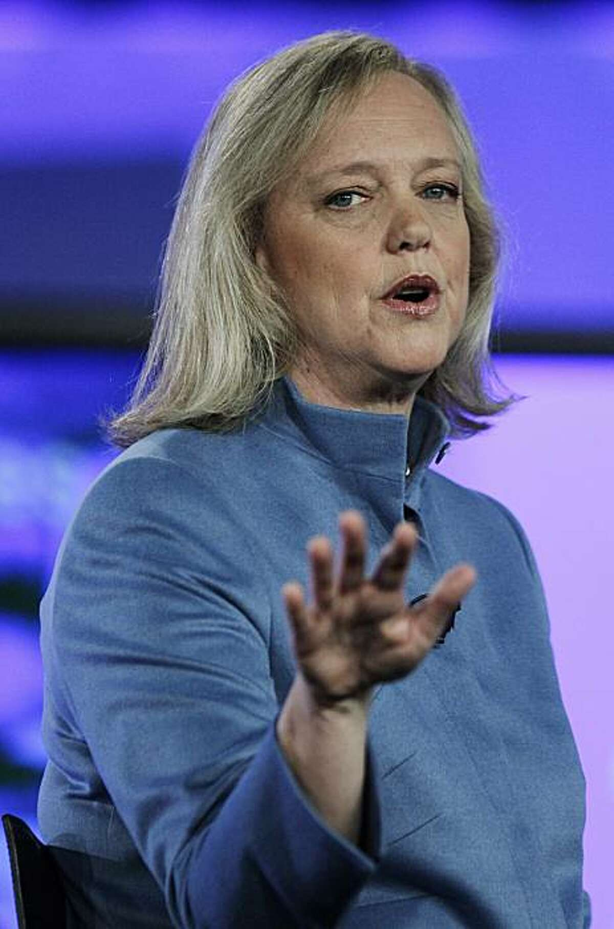 Republican nominee for governor Meg Whitman speaks during a campaign stop at Cisco headquarters in San Jose , Calif., Wednesday, Sept. 29, 2010.