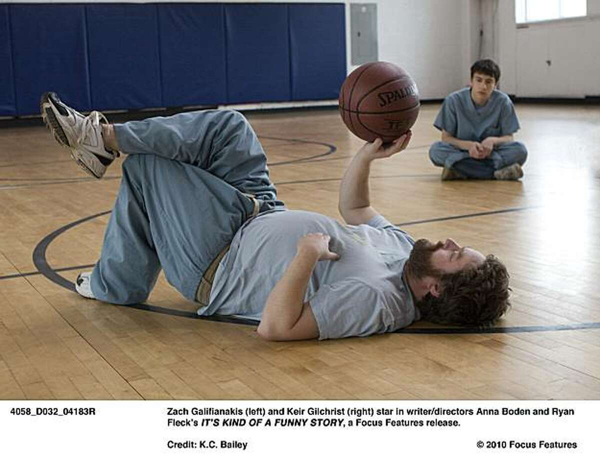 Zach Galifianakis (left) and Keir Gilchrist (right) star in writer/directors Anna Boden and Ryan Fleck?•s IT?•S KIND OF A FUNNY STORY, a Focus Features release.