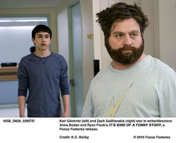 Keir Gilchrist (left) and Zach Galifianakis (right) star in writer/directors Anna Boden and Ryan FleckÕs ITÕS KIND OF A FUNNY STORY, a Focus Features release. Photo: K.C. Bailey, © 2010 Focus Features
