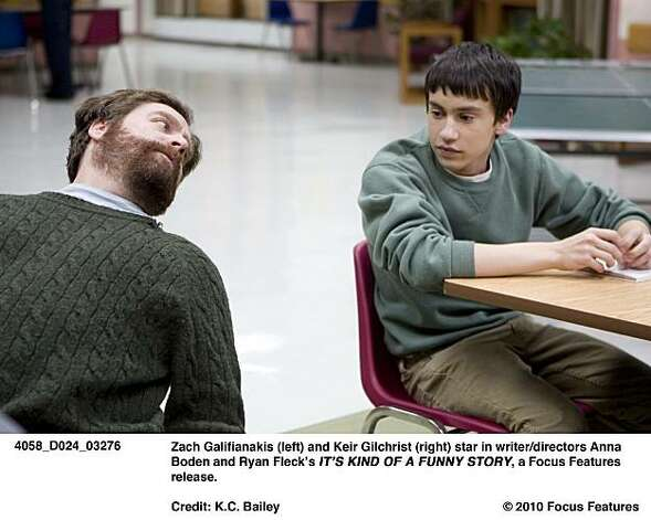 Zach Galifianakis (left) and Keir Gilchrist (right) star in writer/directors Anna Boden and Ryan FleckÕs ITÕS KIND OF A FUNNY STORY, a Focus Features release. Photo: K.C. Bailey, © 2010 Focus Features