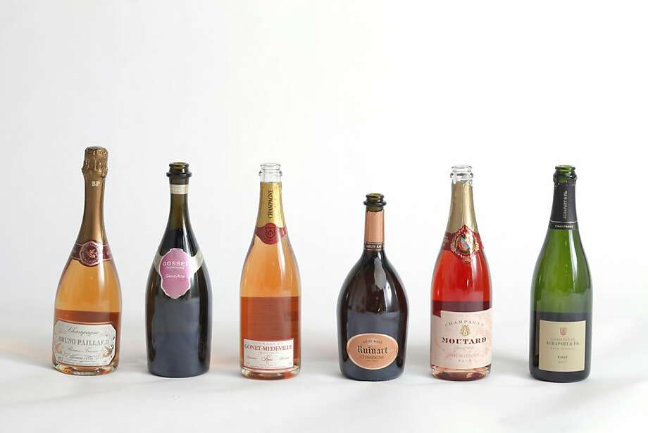From left: NV Bruno Paillard Rosé Brut Premiere Cuvee Champagne; NV Gosset Grand Rosé Brut Champagne; NV Gonet-Medeville Rosé Extra Brut Champagne; NV Ruinart Brut Rosé Champagne; NV Moutard Pere & Fils Rosé de Cuvaison Brut Champagne; NV Agrapart & Fils Brut Rosé Premier Cru Champagne Photo: Craig Lee, Special To The Chronicle