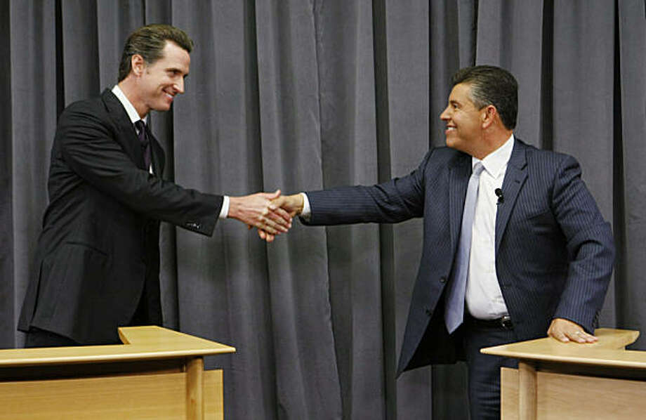 Lt. Governor Abel Maldonado, right, shake hands with San Francisco Mayor Gavin Newsom, left, during a debate for Calif. Lt. Governor in Sunnyvale, Calif., Thursday, Oct. 7, 2010. Photo: Paul Sakuma, AP