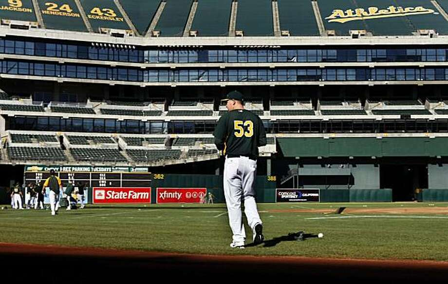 Oakland Athletics pitcher Trevor Cahill (53) runs onto the field to join his teammates for warm ups Friday Sept. 3, 2010.Oakland Athletics pitcher Trevor Cahill (53) runs onto the field to join his teammates for warm ups Friday Sept. 3, 2010. Photo: Lance Iversen, The Chronicle
