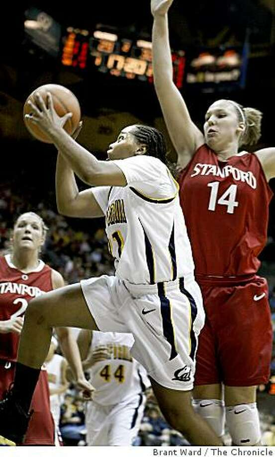 Alexis Gray-Lawson went up for a score against (14) Kayla Pedersen in the second half. Stanford women visit Cal Sunday January 18, 2009. Cal beat Stanford  at Haas Pavilion. Photo: Brant Ward, The Chronicle