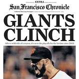 "San Francisco Chronicle's ""Giants Clinch"" Extra, Page 1."