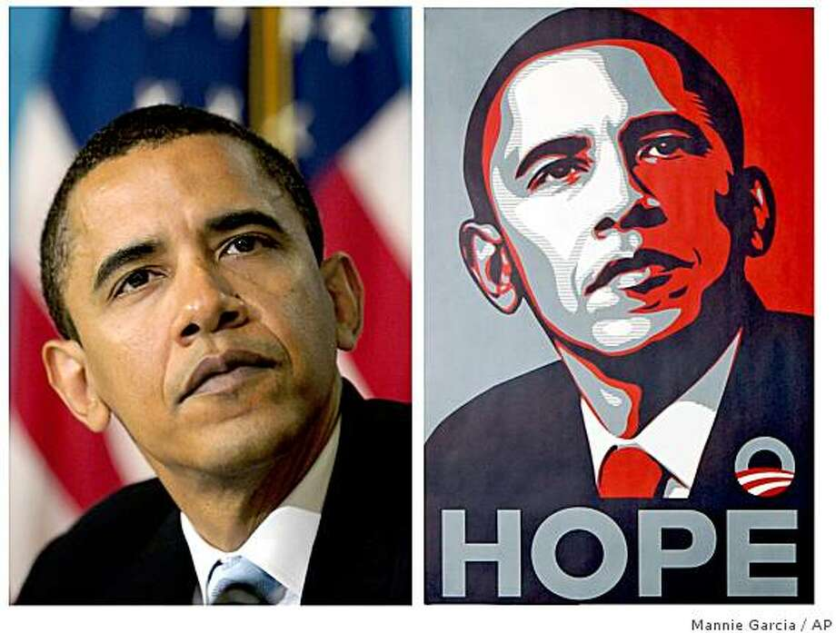 A poster of President Barack Obama, right, by artist Shepard Fairey is shown for comparison with this April 27, 2006 file photo of then-Sen. Barack Obama by Associated  Press photographer Mannie Garcia at the National Press Club in Washington.  An artist who created a famous image of Barack Obama before he became president sued The Associated Press on Monday, Feb. 9, 2009 asking a judge to find that his use of an AP photo in creating the poster did not violate copyright law. Photo: Mannie Garcia, AP