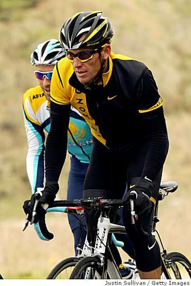 JENNER, CA - FEBRUARY 04:  Astana Cycling Team rider Lance Armstrong rides up a hill during a training camp February 4, 2008 in Jenner, California. Astana team riders are preaparing for the Tour of California which begins on February 15th in Sacramento, California.  (Photo by Justin Sullivan/Getty Images) Photo: Justin Sullivan, Getty Images