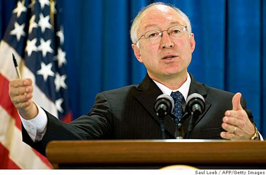 US Secretary of the Interior Ken Salazar speaks during a press conference at the Department of the Interior in Washington, DC, February 10, 2009. Salazar announced that he will delay implementation of a plan that was made in the waning days of the Bush administration to allow offshore oil drilling along the US coast in the Pacific and Atlantic oceans. AFP PHOTO / Saul LOEB (Photo credit should read SAUL LOEB/AFP/Getty Images) Photo: Saul Loeb, AFP/Getty Images