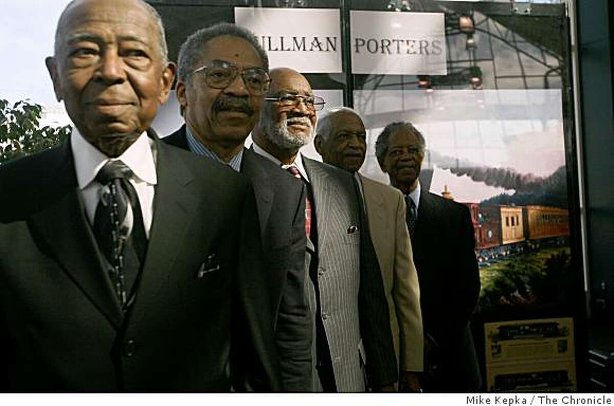 Retired pullman porters, Lee Gibson (left) Thomas H. Gray, Sam Coleman, James Smith and Troy Walker, stand for photographers at the Oakland AMTRAK station during a celebration in their honor, Tuesday Feb. 10, 2009 in Oakland, Calif. Pullman porters at the beginning of last century have been credited with helping to pave the way for todays successful black americans.