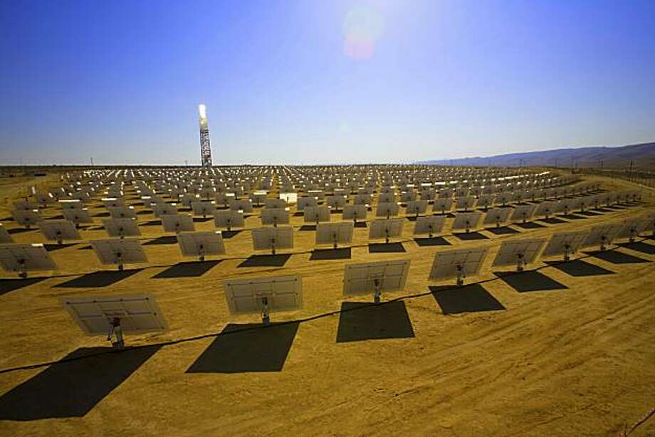 Sunlight bounces off mirrors at BrightSource Energy's solar plant in Israel's Negev Desert on Nov. 11, 2008. Photo: Courtesy Of Eilon Paz, BrightSource Energy