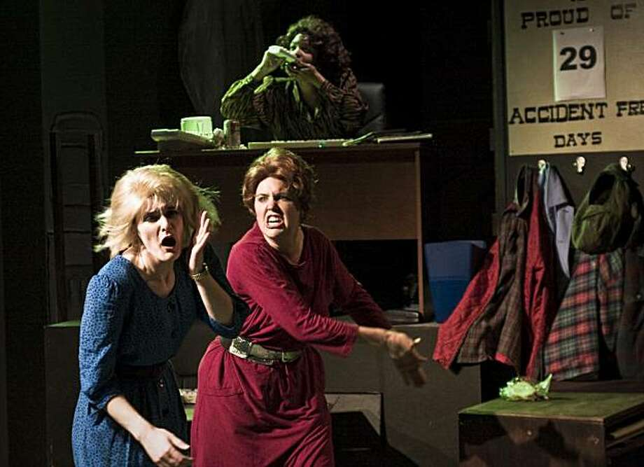"""Peaches (Eleanor Mason Reinholdt, right) takes out her anger on new secretary Patty (Elissa Beth Stebbins, left) at Cooney Lumbermill in Crowded Fire's revival of """"The Secretaries"""" by the Five Lesbian Brothers Photo: Timothy Faust"""