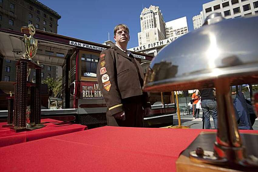 Cable car operator Tony Marquardt attends but does not compete in the 48th annual cable car bell ringing contest at Union Square in San Francisco on Monday.