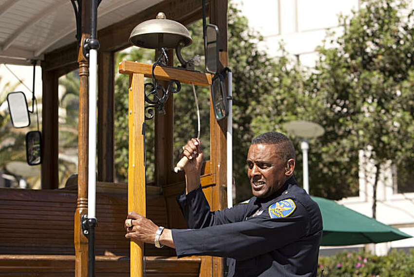 San Francisco Police officer Carl Payne, a ten time cable car bell ringing champion, gives a demonstration during the 48th annual Cable Car Bell Ringing Contest at Union Square, September 28, 2010 in San Francisco, Calif. Photograph by David Paul Morris/Special to the Chronicle