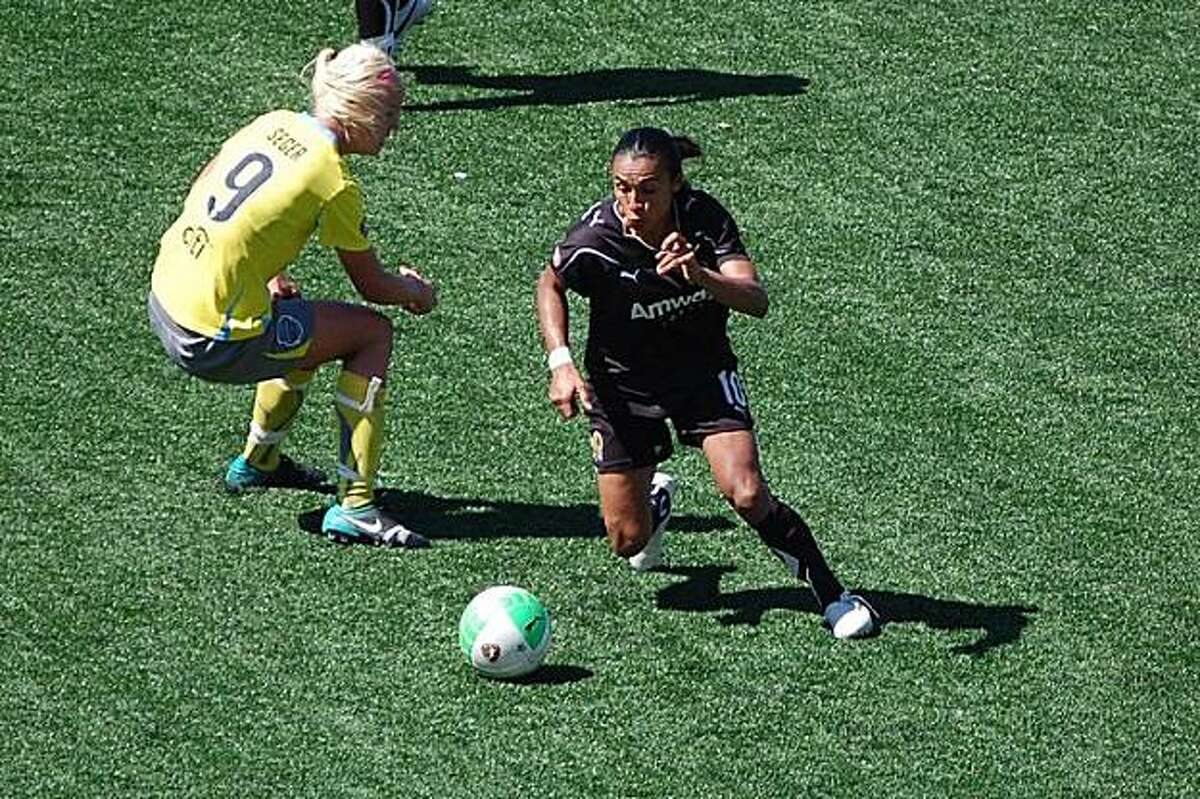Marta, Brazil The Brazilian legend has won the Golden Boot for best female soccer player in the world six times. Playing for FC Gold Pride in the WPS in 2010, the Bay Area pro team rode her skills to a 4-0 rout of the Philadelphia Independence in the championship game. She currently plays for the NWSL's Orlando Pride. She has scored 110 goals in 133 games for the Brazilian national team.