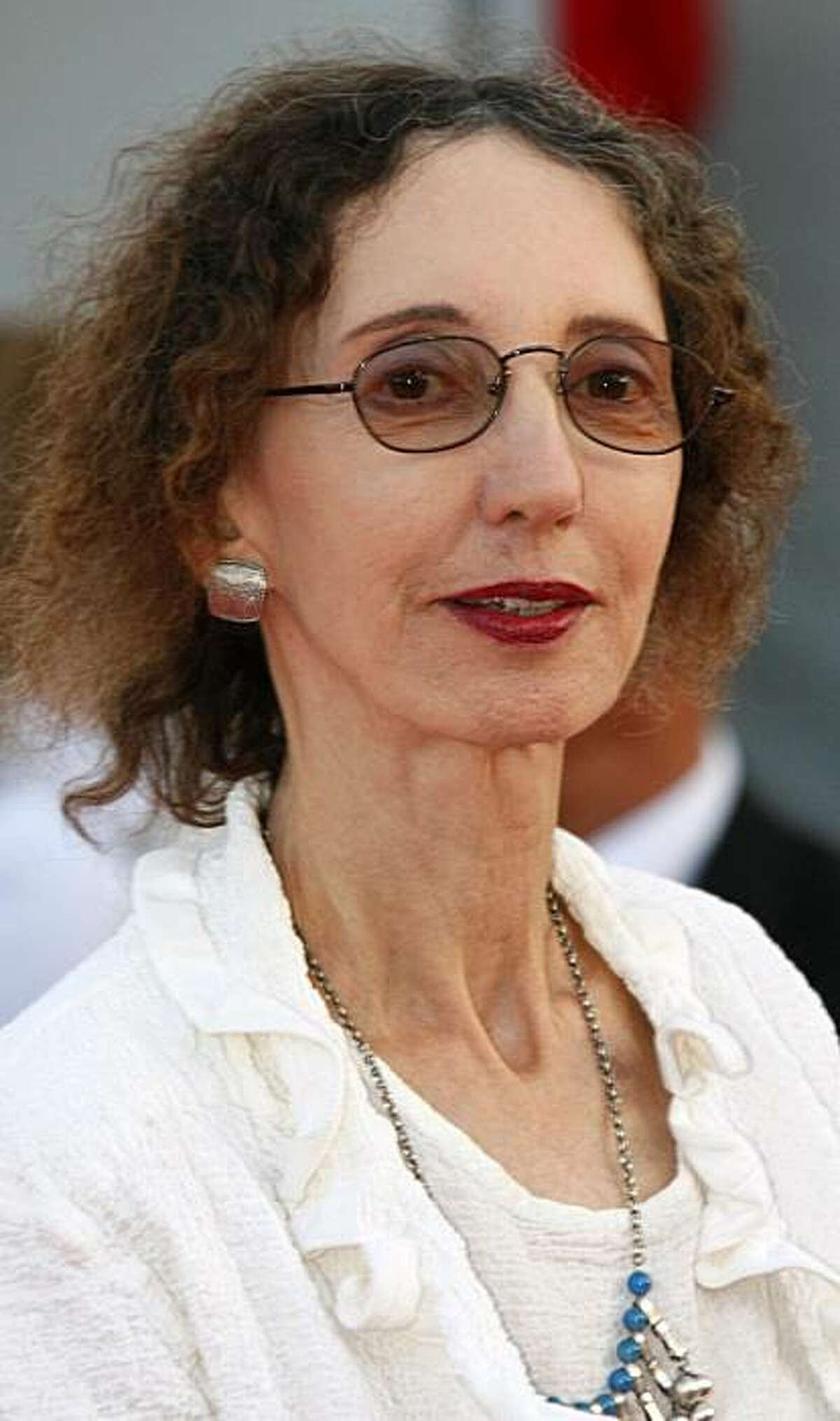 """U.S. writer Joyce Carol Oates arrives for the screening of the film """" Fair Game """" at the 36th American Film Festival, Thursday, Sept. 9, 2010, in Deauville, Normandy, France."""