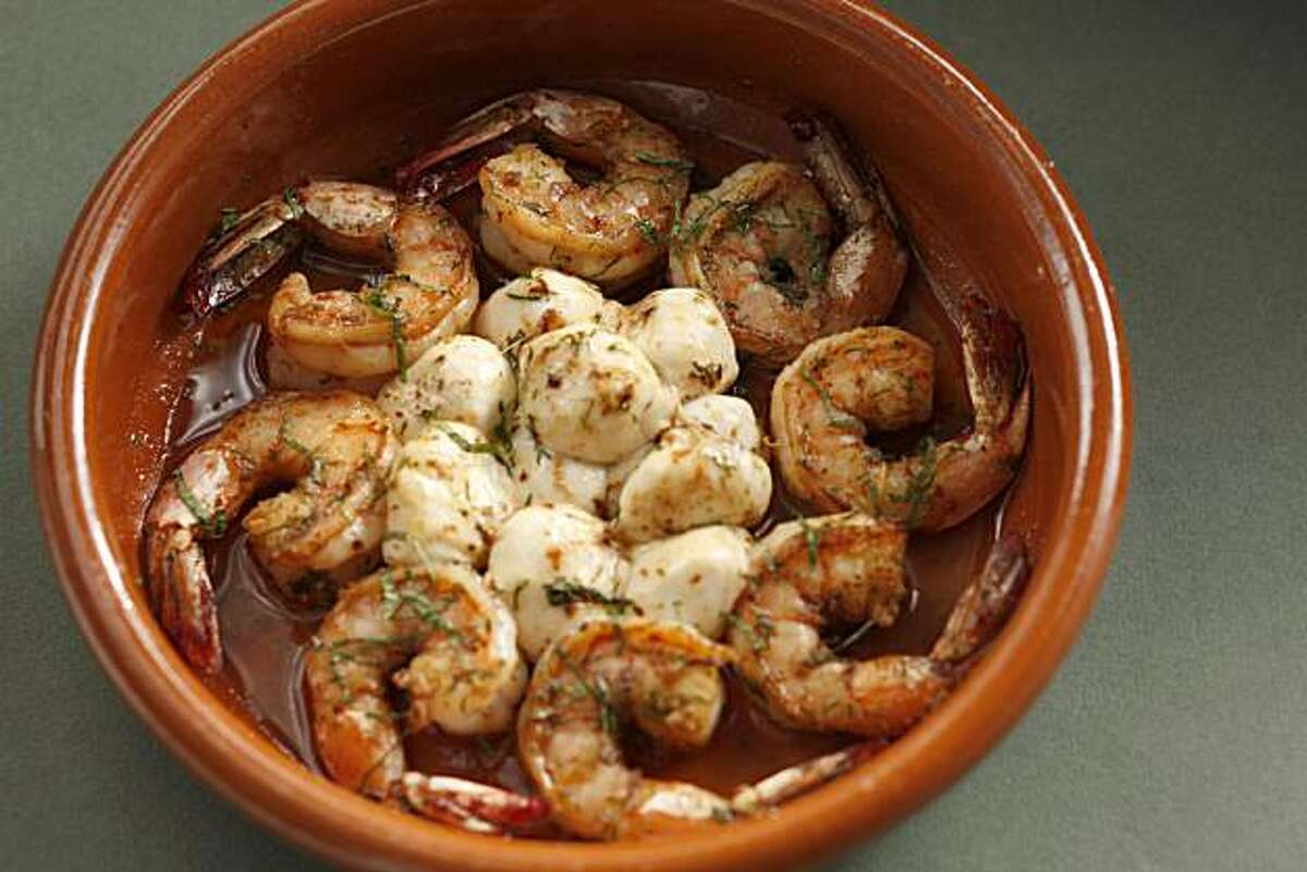 Shrimp and Ciliegine Tapa in San Francisco, Calif., on September 15, 2010. Food styled by Lynne Char Bennett.