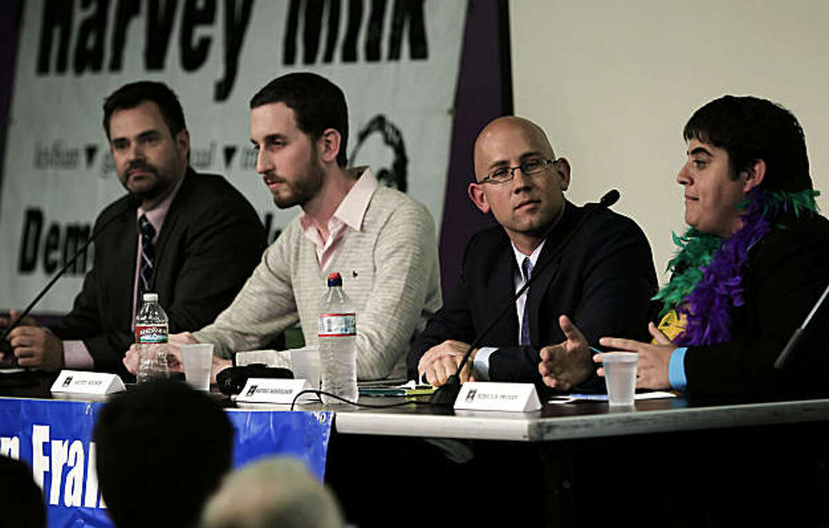 (left to right) Four candidates for San Francisco Supervisor of District 8, Bill Hemenger, Scott Wiener, Rafael Mandelman and Rebecca Prozan, are guests at a forum hosted by the San Francisco Young Democrats at the LGBT Center in San Francisco, Calif., on Wednesday, Sept. 22, 2010.