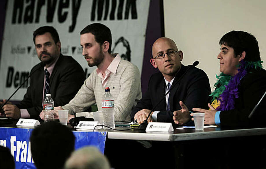 (left to right) Four candidates for San Francisco Supervisor of District 8, Bill Hemenger, Scott Wiener, Rafael Mandelman and Rebecca Prozan, are guests at a forum hosted by the San Francisco Young Democrats at the LGBT Center in San Francisco, Calif., on Wednesday, Sept. 22, 2010. Photo: Michael Macor, The Chronicle