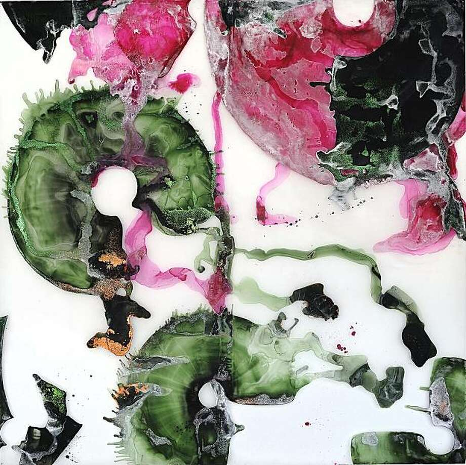 """Magenta and Hooker's Green Rings I"" (2010) acrylic and mixed media on Mylar by Nellie King Solomon Photo: John White, Brian Gross Fine Art, S.f."