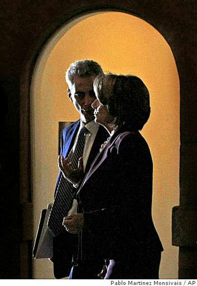 White House Chief of Staff-designate Rahm Emanuel, left, talks with House Speaker Nancy Pelosi of Calif. on Capitol Hill in Washington Monday, Jan. 5, 2009, after Pelosi met with then President-elect Barack Obama. (AP Photo/Pablo Martinez Monsivais) Photo: Pablo Martinez Monsivais, AP