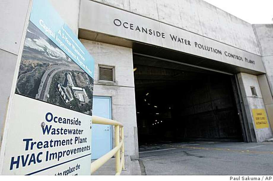 Exterior view of the Oceanside Water Pollution Control Plant is shown in San Francisco, Monday, July 7, 2008. Supporters of the Presidential Memorial Commission have turned in their application to propose to rename the Oceanside Water Pollution Control Plant to the George W. Bush Sewage Plant. The supporters are hoping to put the idea before San Francisco voters as a November ballot issue. (AP Photo/Paul Sakuma) Photo: Paul Sakuma, AP