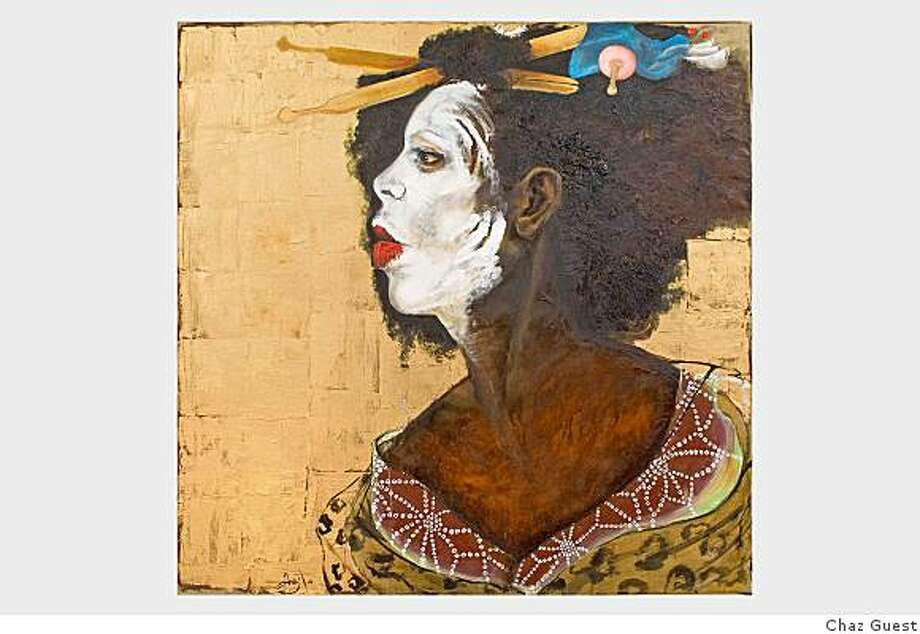 """Chaz Guest's """"Xhosa Maiko,"""" 2008, oil on linen, on view at the Museum of the African Diaspora's exhibition, """"Decoding Identity: I Do it for My People ,"""" on view through  March 8. Photo: Chaz Guest"""