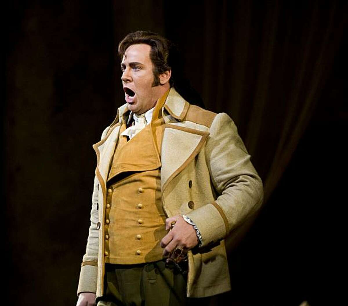 Lucas Meachem, playing Count Almaviva, performs during the San Francisco Opera's final dress rehearsal of Mozart's
