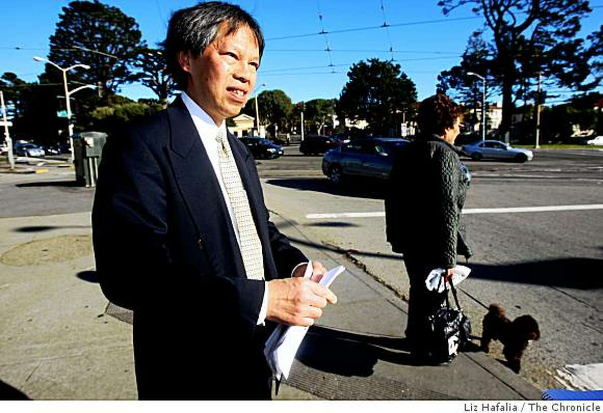 Bond Yee explains the traffic signals at the intersection of Sloat, St. Francis, West Portal, Junipero Serra, in San Francisco, Calif., on Friday, January 9, 2009