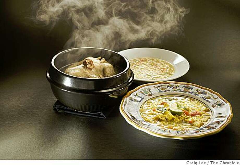 Three kinds of chicken soup, Korean Chicken and Ginseng soup (left), Classic Chicken Noodle soup (back right) and Soup E Morgh (front right), in San Francisco, Calif., on January 21, 2009. Food styled by Cindy Lee. Photo: Craig Lee, The Chronicle