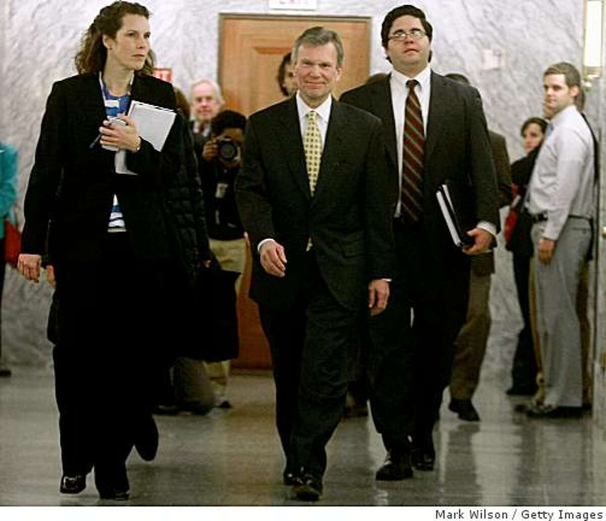 WASHINGTON - FEBRUARY 02: Former Senator Thomas Daschle (C) (D-SD) arrives for a closed door meeting with Members of the Senate Finance Committee on Capitol Hill on February 2, 2009 in Washington, DC. Daschle, who was nominated by President Brack Obama to be secretary of Health and Human Services secretary, was questioned about $128,000 in errors on his taxes. (Photo by Mark Wilson/Getty Images)