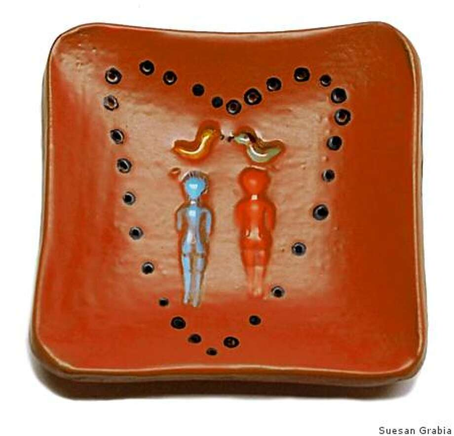 Valentines day square dessert plate by Lisa Neimeth for The Gardener, price $35 Photo: Suesan Grabia