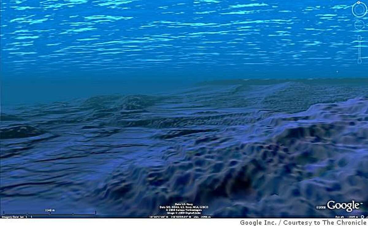 Ocean in Google Earth is a new feature that enables users to dive beneath the water surface and explore the world's oceans. This handout image shows an undersea view of the Hawaii Coast.