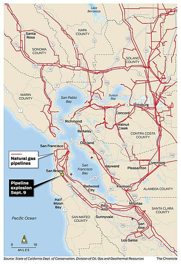 Map of natural gas lines in the Bay Area. Photo: Todd Trumbull/National Pipeline