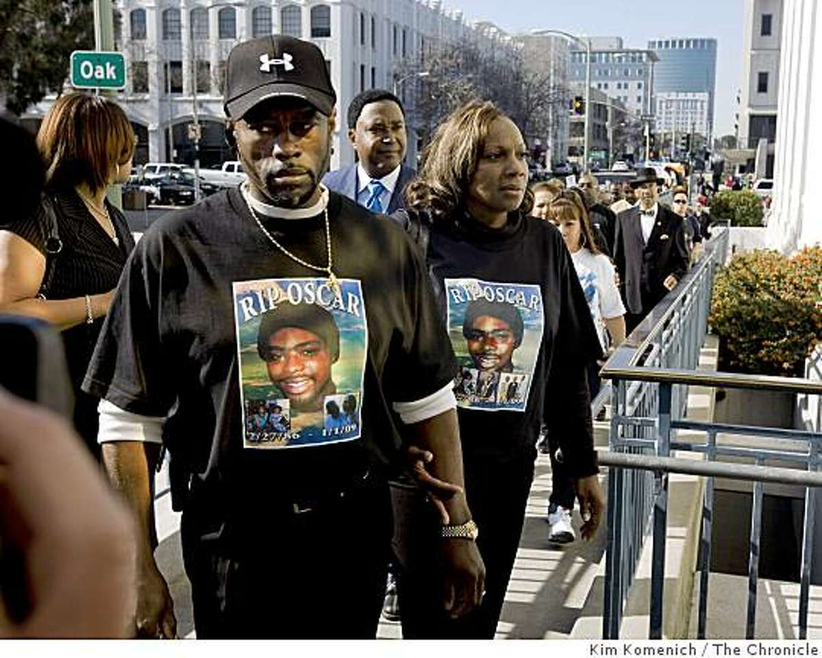 The family of Oscar Grant arrives at the bail hearing for BART Officer Johannes Mehserle at Alameda County Courthouse in Oakland.