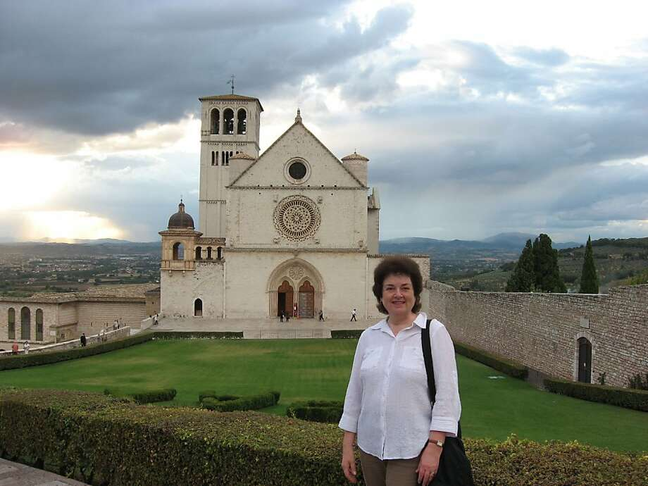 Jo English of Mountain View in front of the Basilica of San Francis. Photo: Courtesy Jo English