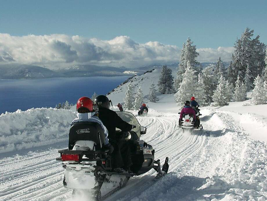 Snowmobile tours from Zephyr Cove offer single- and double-rider options. Photo: Courtesy Zephyr Cove