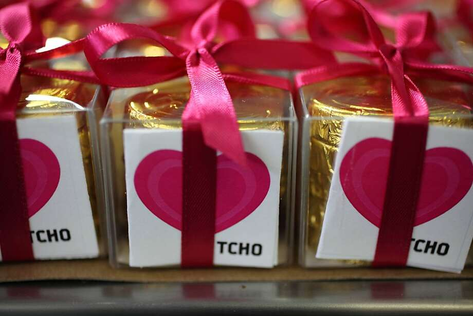 Heart shaped Tcho chocolates wrapped in boxes at Tcho in San Francisco, Calif. on Wednesday, February 4, 2009. Photo: Lea Suzuki, The Chronicle