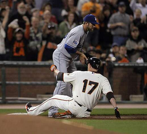 Aubrey Huff beats the throw for a triple in the first inning. The San Francisco Giants played the Los Angeles Dodgers at AT&T Park in San Francisco, Calif., on Thursday, September 16, 2010, defeating the Dodgers 10-2. Photo: Carlos Avila Gonzalez, The Chronicle