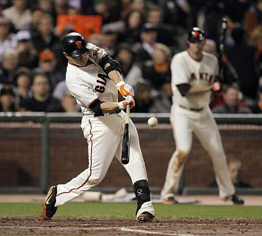 Freddy Sanchez hits a two run double in the eighth inning. The San Francisco Giants played the Los Angeles Dodgers at AT&T Park in San Francisco, Calif., on Thursday, September 16, 2010, defeating the Dodgers 10-2. Photo: Carlos Avila Gonzalez, The Chronicle