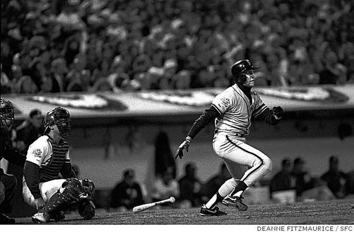 Giants first baseman Will Clark hits one through the gap for a base hit in game one of the 1989 World Series with the Oakland A's. By Deanne Fitzmaurice/San Francisco Chronicle